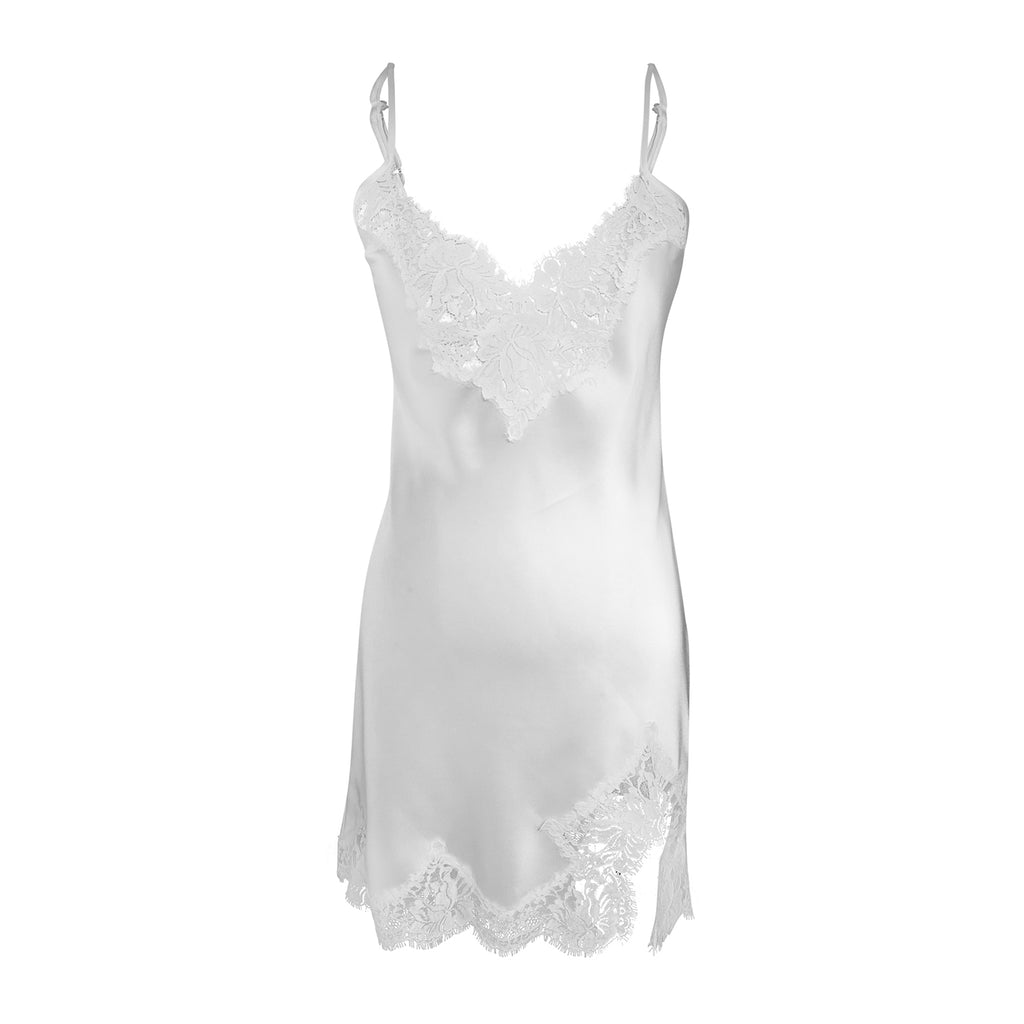 Ivory Silk Slip with French Lace and Front Split