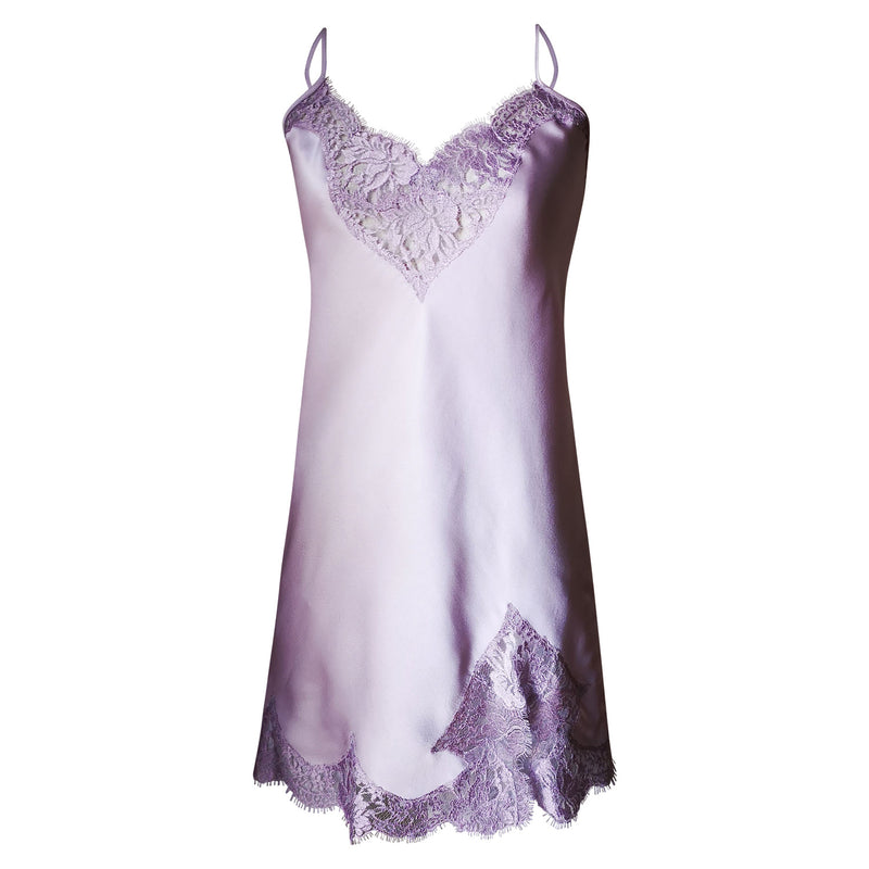 Lilac ash silk slip with scalloped French lace