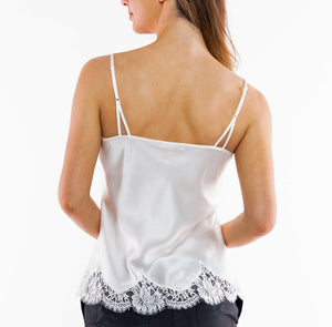 Ivory Silk Camisole with Scalloped French Lace