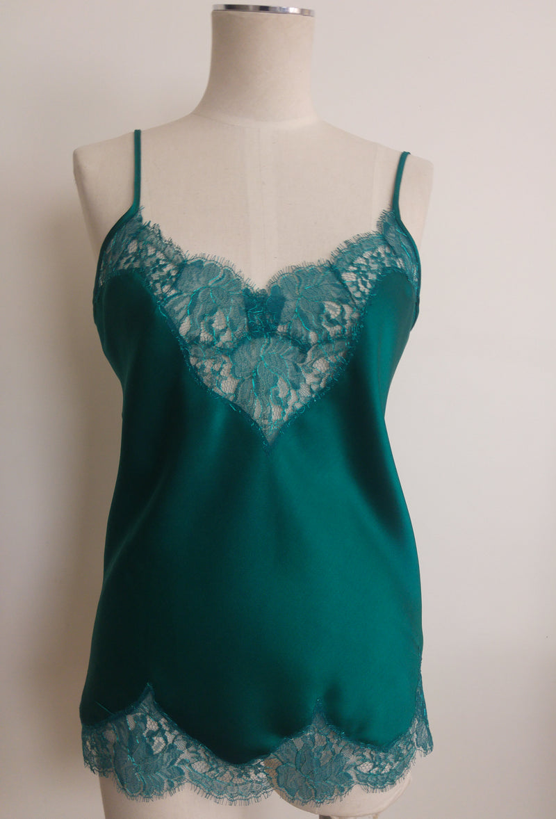 Teal Silk Camisole with Scalloped French Lace