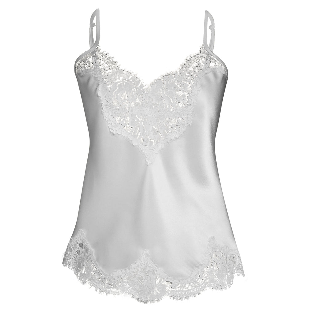 silk camisole ivory french lace trim adjustable straps