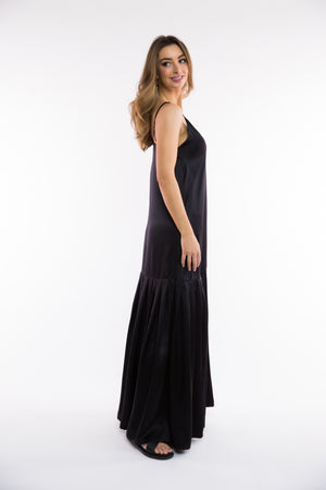 Black silk maxi dress with pleat hem