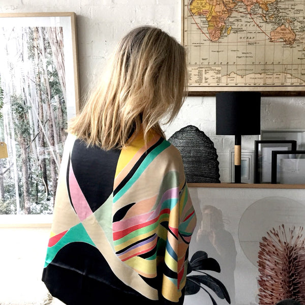 Hand-painted Silk Cape Scarf