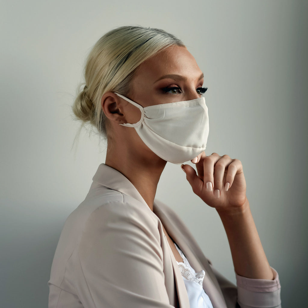 Triple Layer Adjustable Silk Face Mask w/ Cotton Lining, Filter Pocket & Nose Wire