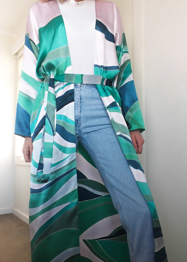 Hand-Painted Silk Duster Jacket