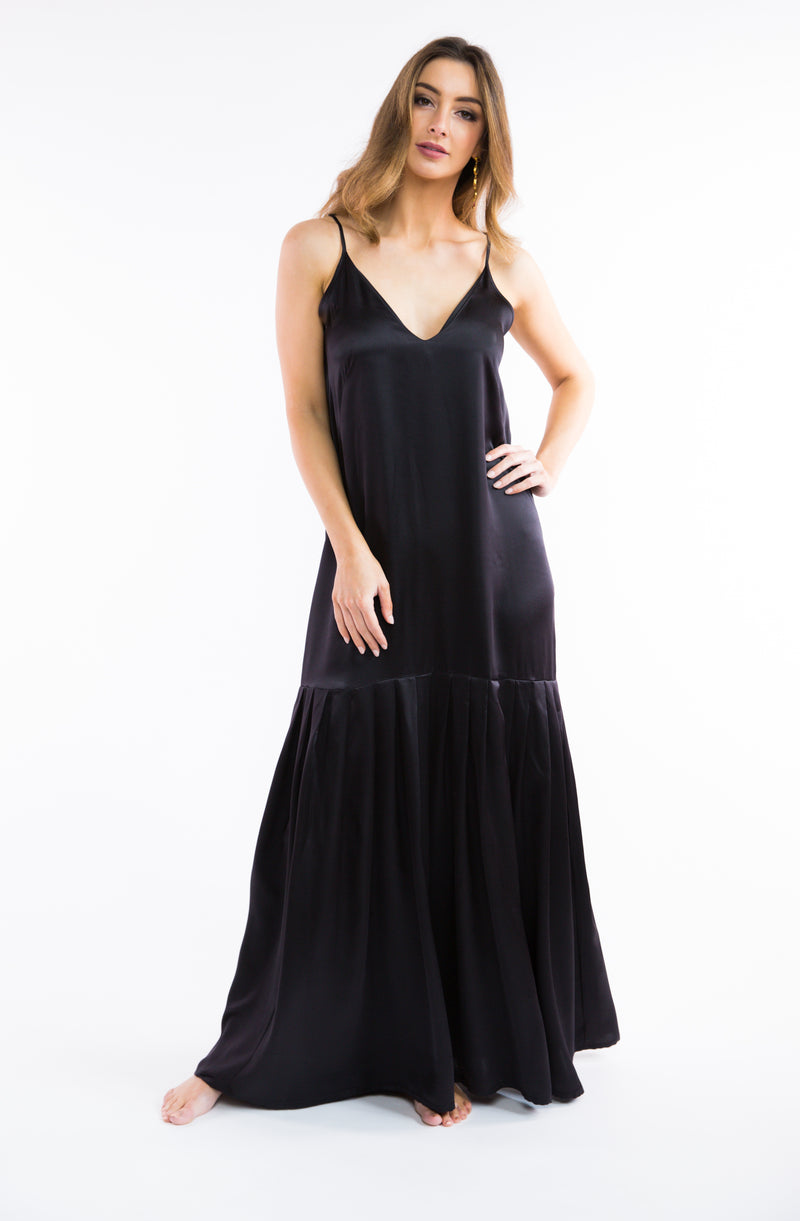 Silk Maxi Dress w/ Pleat Hem