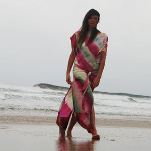 Hand-painted silk kaftan
