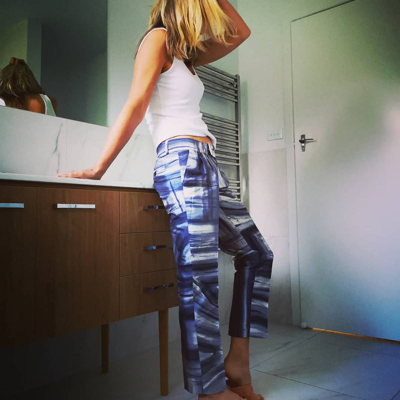 Hand-painted silk pants