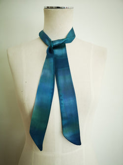 Hand-painted silk neckerchief - Blues