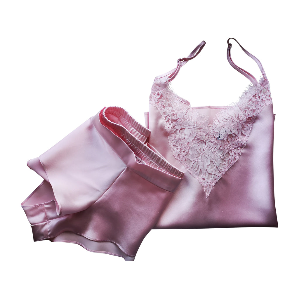 Blush silk camisole and knicker set