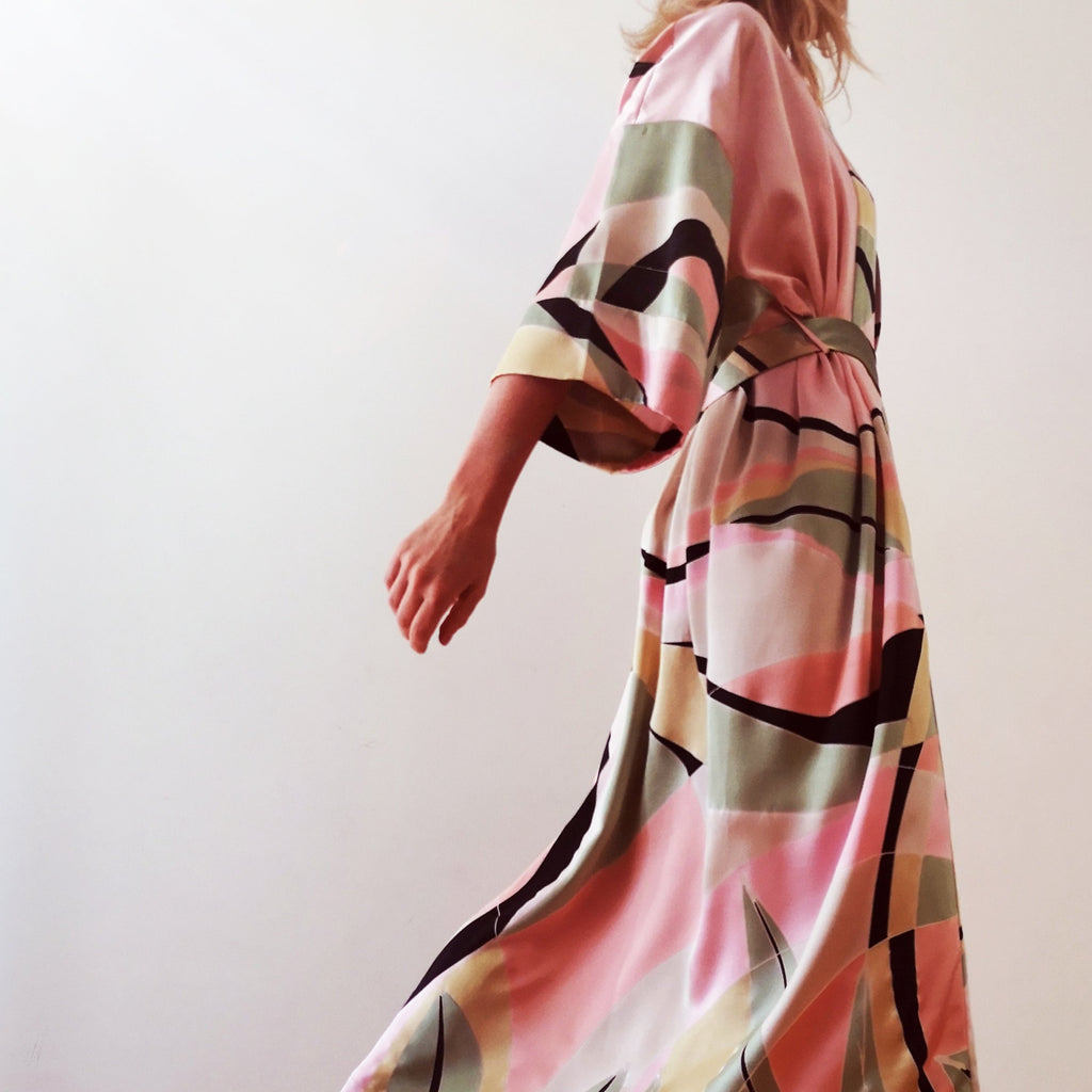 silk hand-painted robe pinks, greens, yellow, peach, black