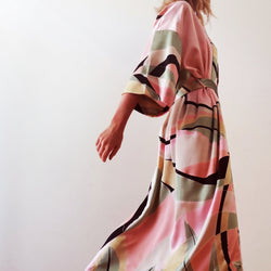 Long Hand Painted Silk Robe