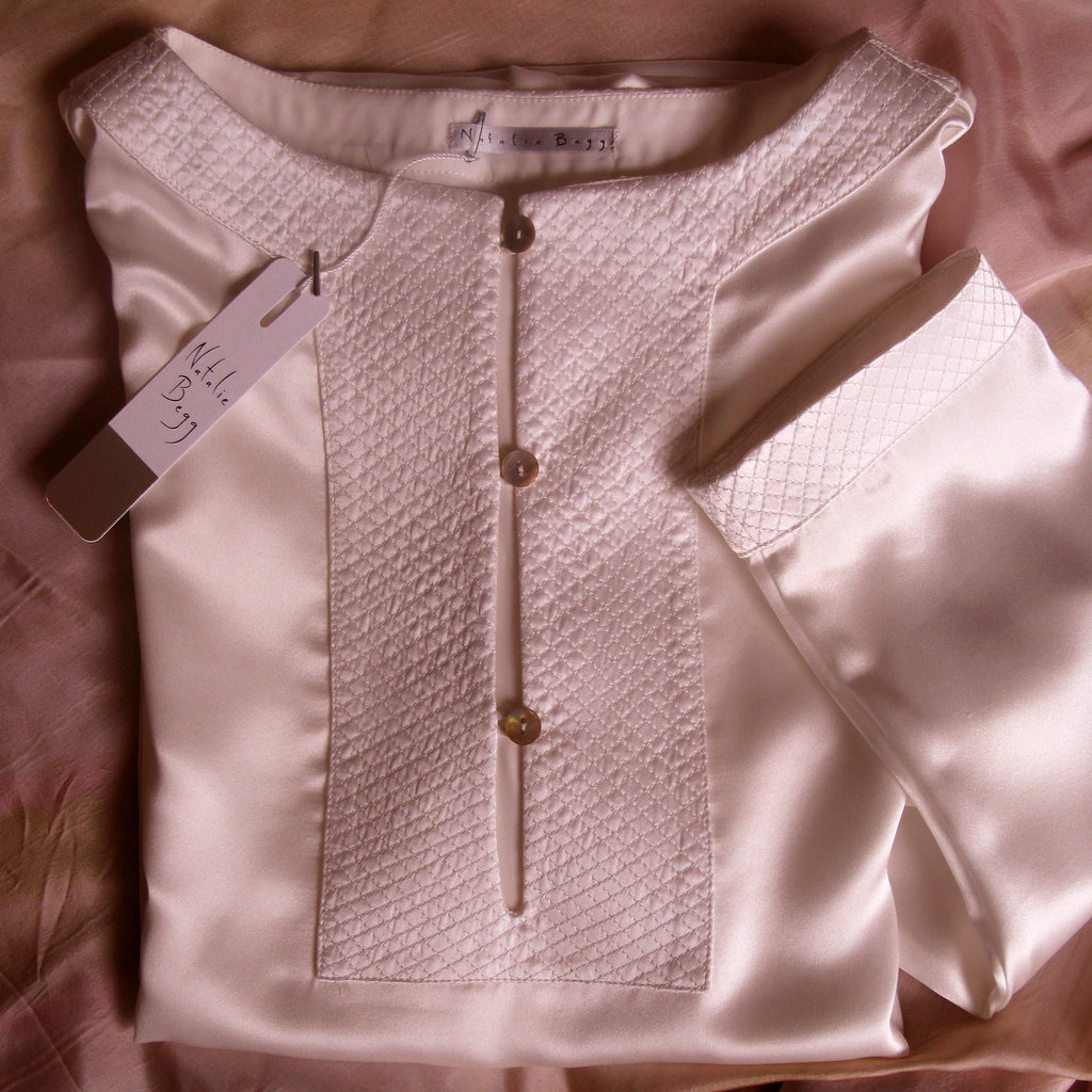Silk pyjama set with quilted silk detail