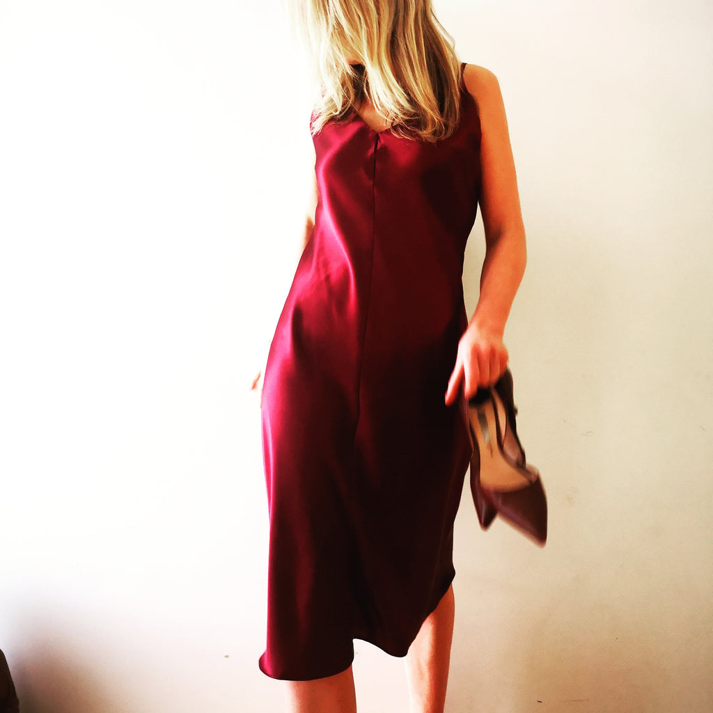 Ruby silk slip dress