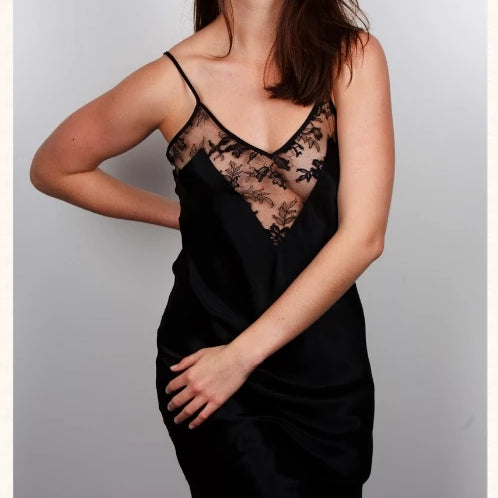 Silk backless slip with French lace
