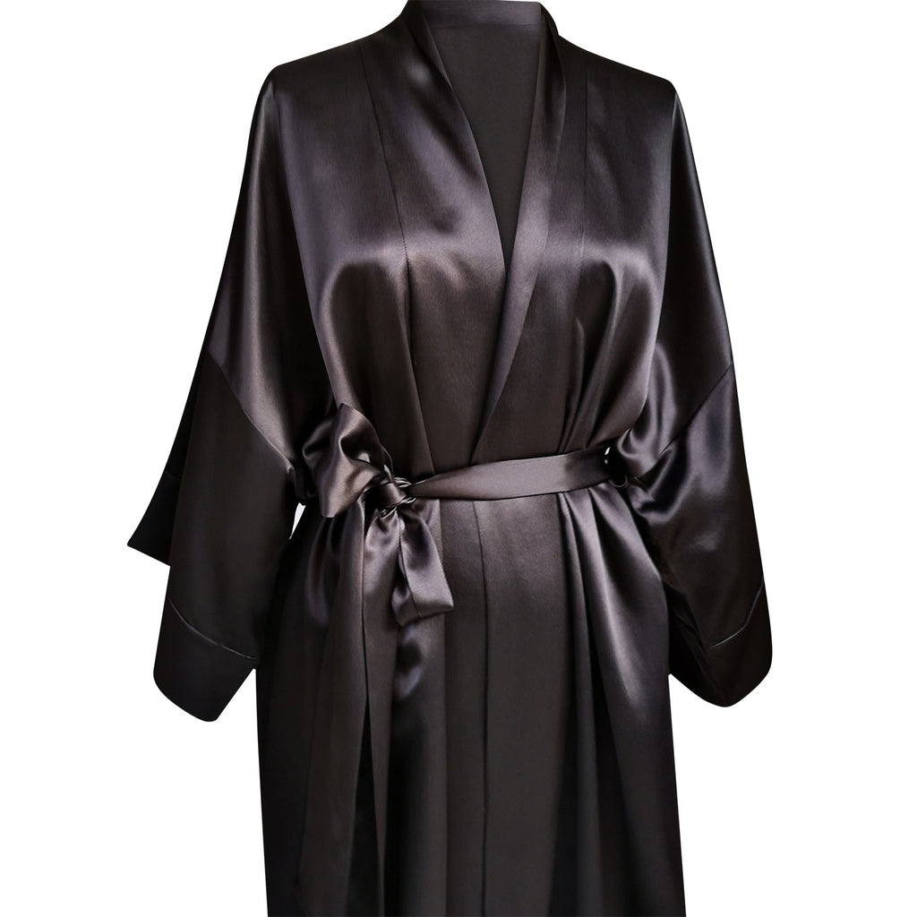Silk Robe Mid-calf (available in black & pink)