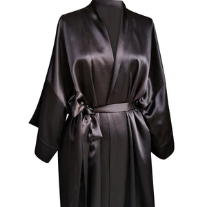 Silk Robe Mid-Thigh - Black