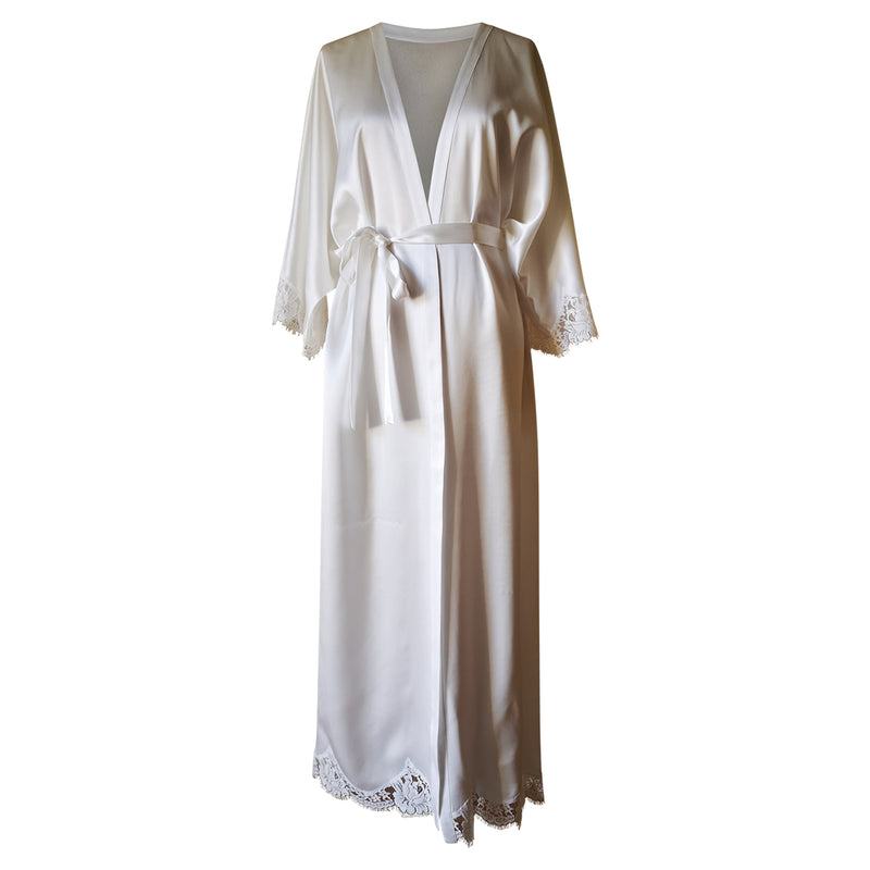 Ankle Length Silk Robe w/ French Lace SLeeve Cuff (available in Black,Ivory,Pink)