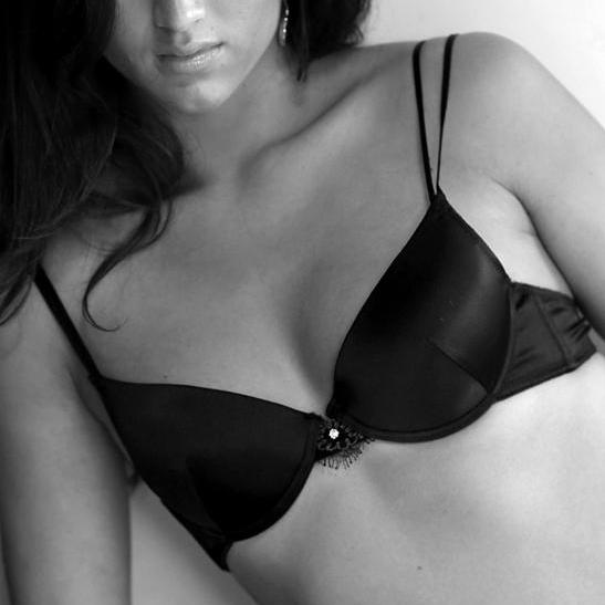 Model In Black Underwire Bra With Crystal Detail