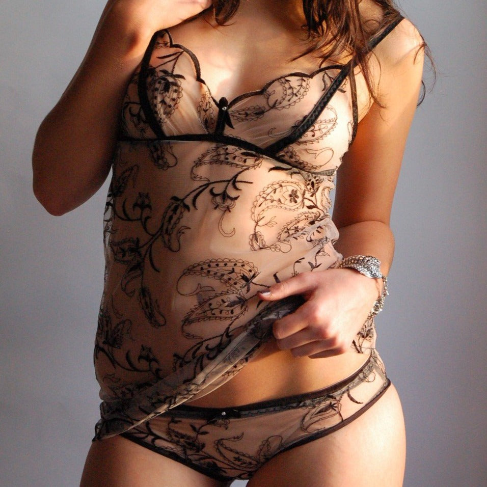 Model In Embroidered Tulle Hipster Brief And Camisole