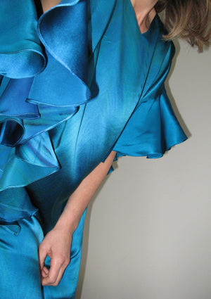 Hand-painted silk ruffle dress