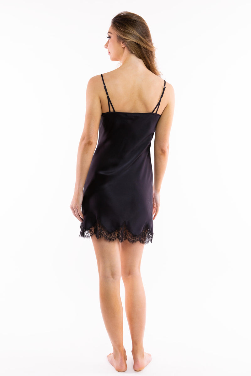 Silk Slip with Scalloped French Lace