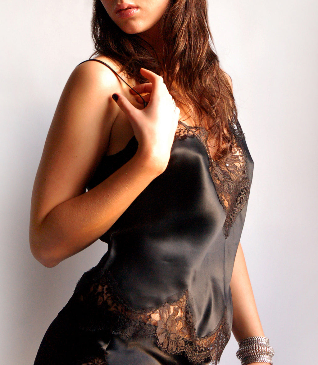 Silk knicker and camisole set w/ french lace - One size small in stock