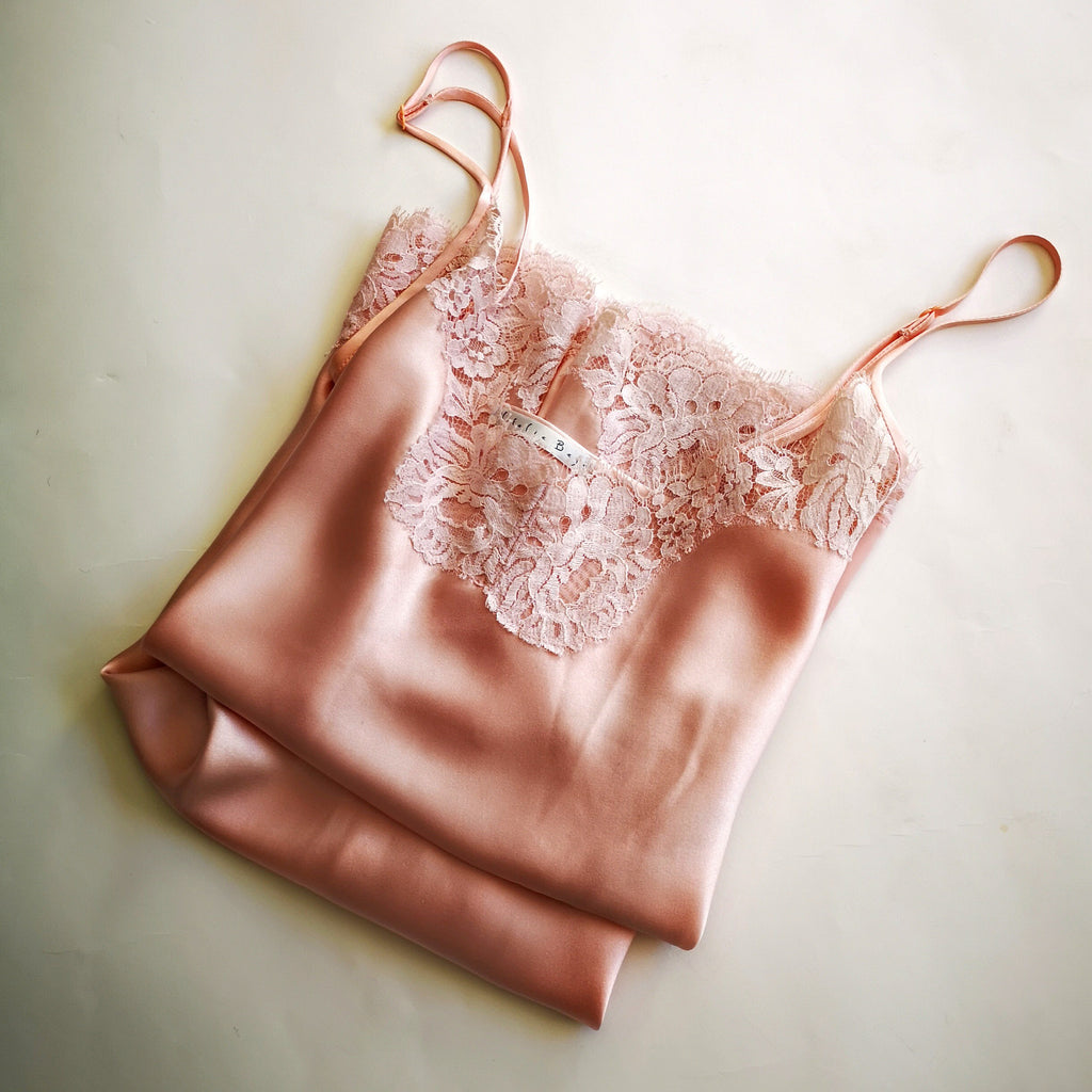 Nude Silk Camisole w/ Scalloped French Lace