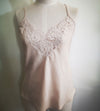 Organic Rose Dyed Silk Camisole w/ French Lace
