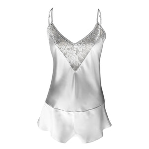 Ivory silk playsuit with French lace