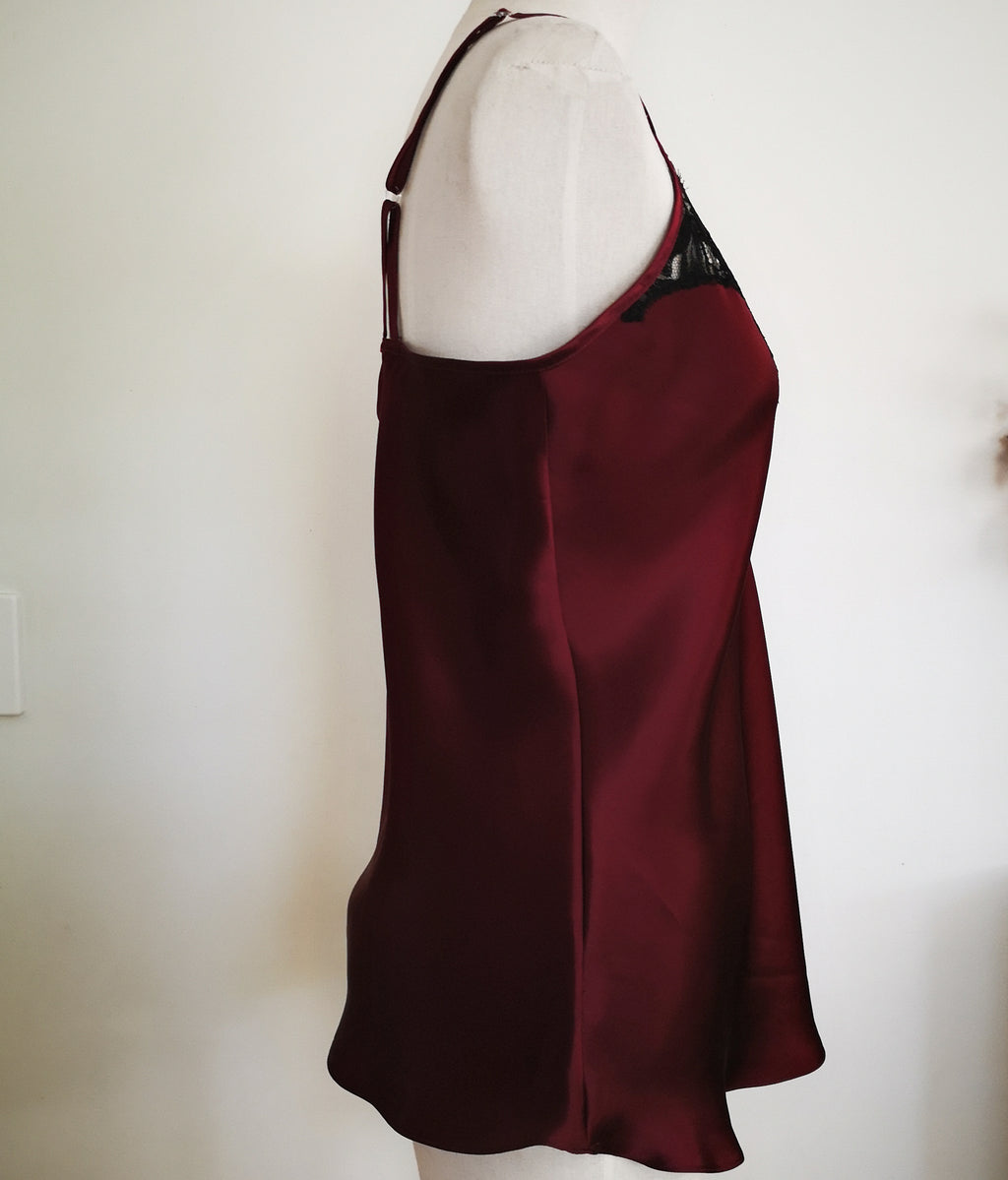 Plum silk camisole w/ lace trim