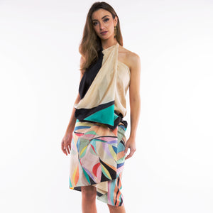 Multi Color Hand-painted Silk Scarf