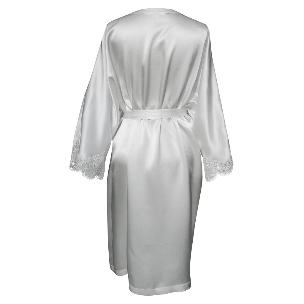 Magyar Sleeve Silk Robe w/ French Lace Sleeve Hem Ivory