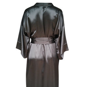Black silk robe mid thigh