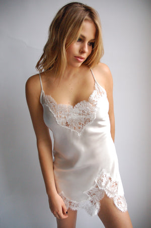 Nude Silk Slip w/ Scalloped French Lace