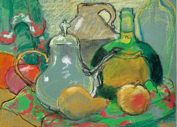 Green Still Life With Pear
