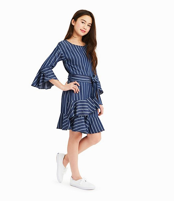 Serena Blue and White Striped Dress