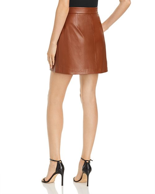 Abri Leather Wrap Mini Skirt