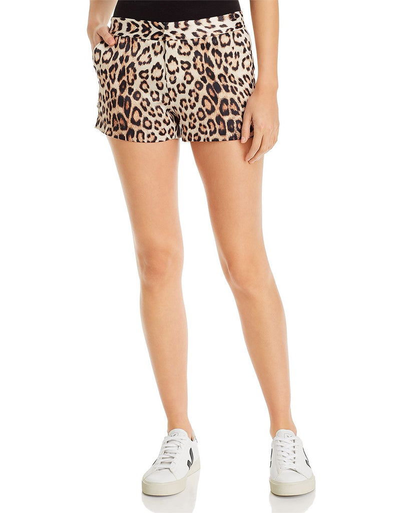 Leopard High Waisted Pleated Shorts