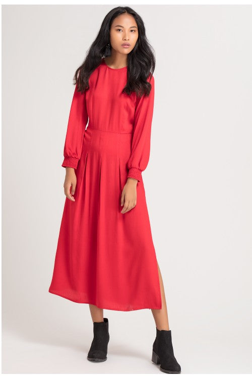 Red Midi Longsleeve Dress