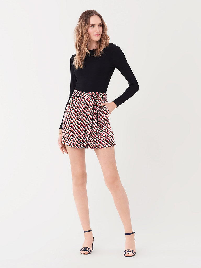 DVF Geo High Waist Belted Shorts