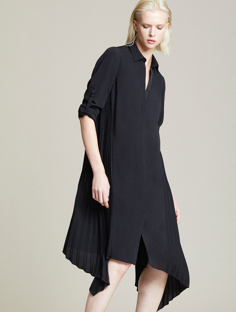 Halston Side Pleated Shirt Dress