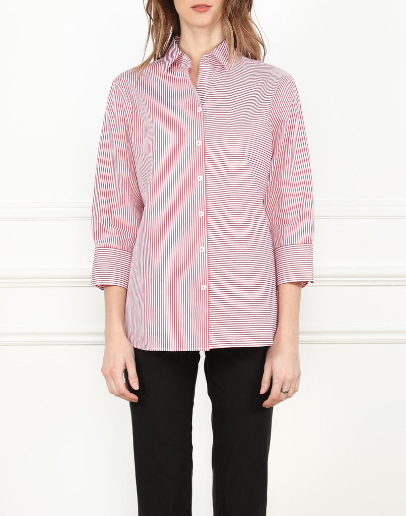 Margot Relax Fit Shirt in Red/White Stripe/Check