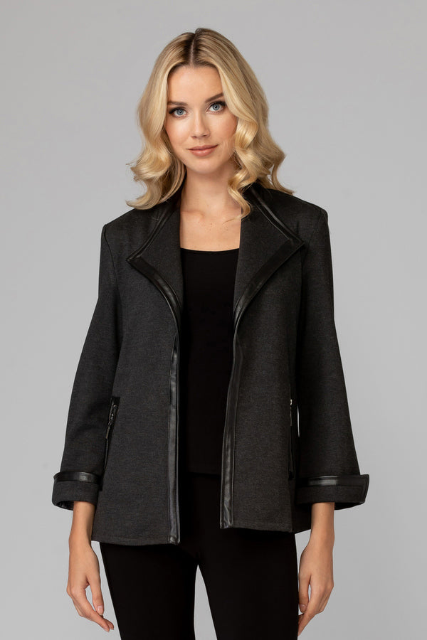 Charcoal Grey Open Front Jacket