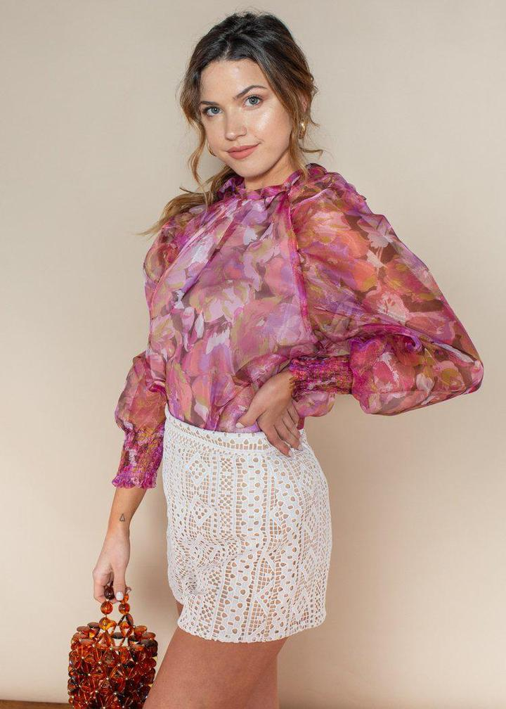 Floral Organza Puff Sleeve Top