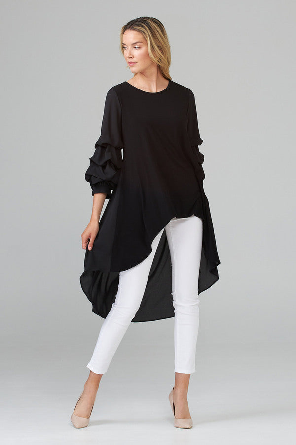 High Low Sheer Back Long Sleeve Top