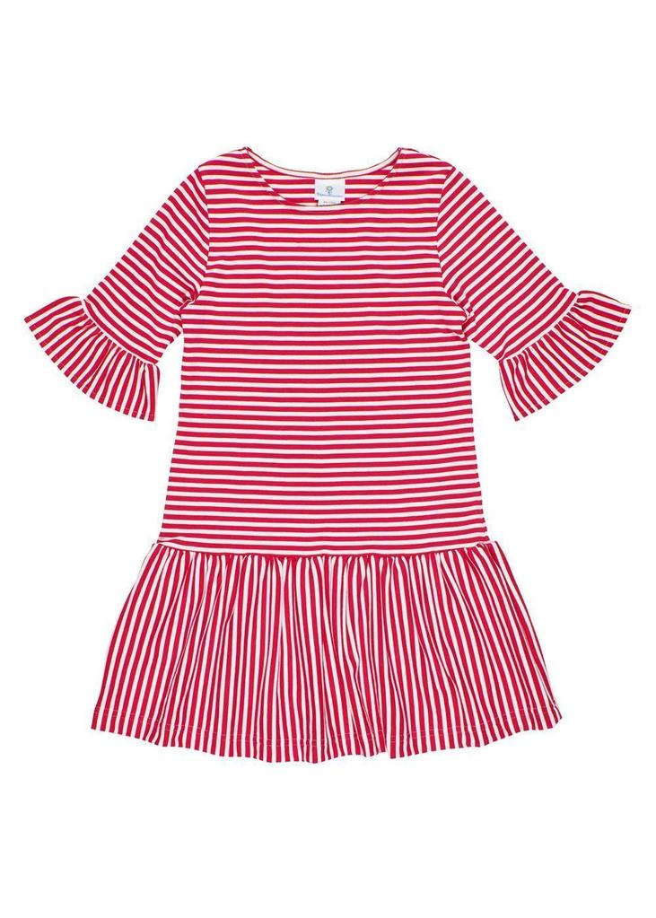Stripe Knit Dress with Shirred Skirt