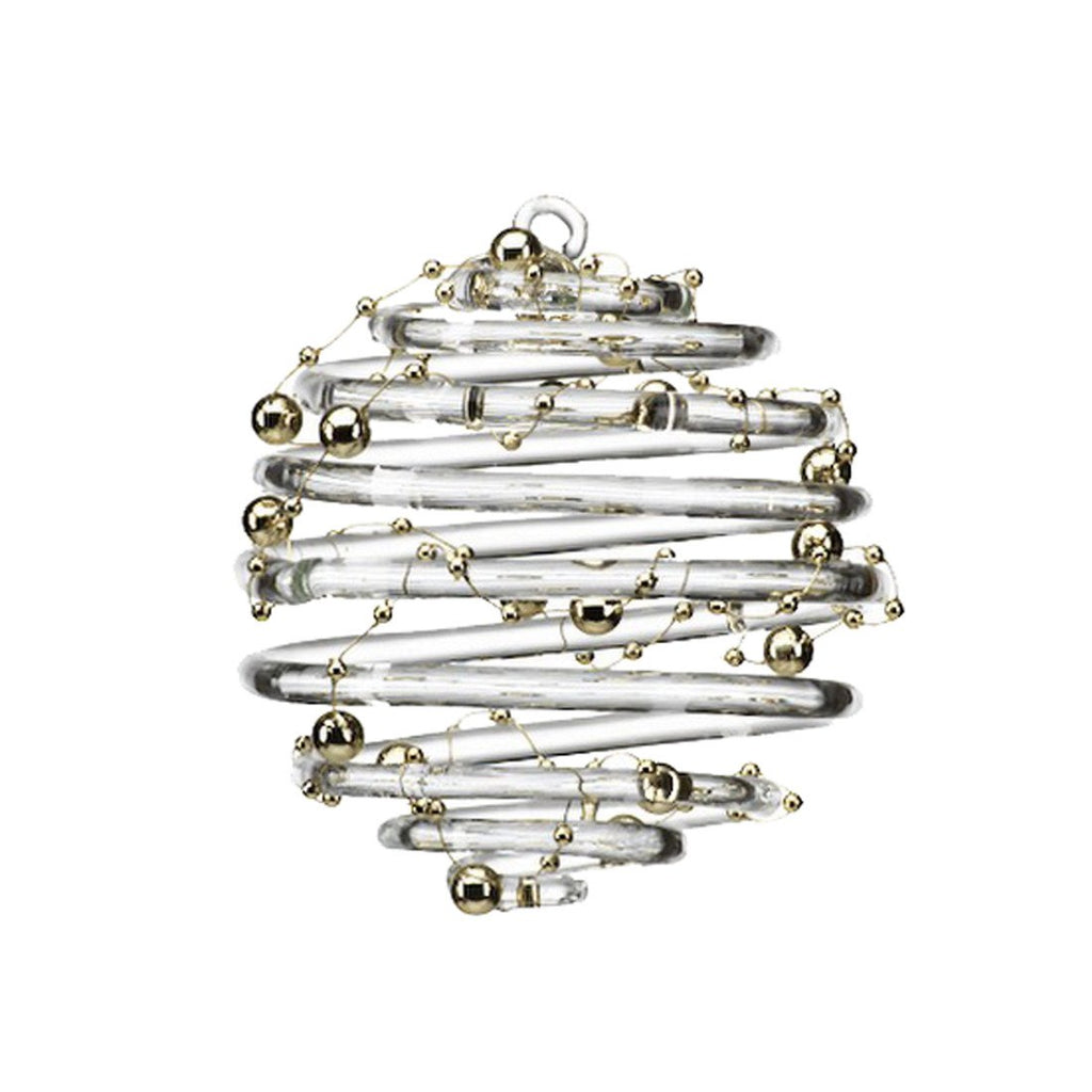 Clear Ring Ornament with Gold Beads