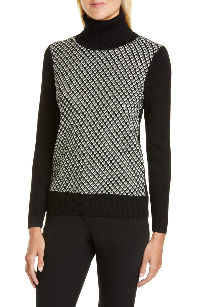 Bronwen Geo Print Wool Blend Turtleneck Sweater