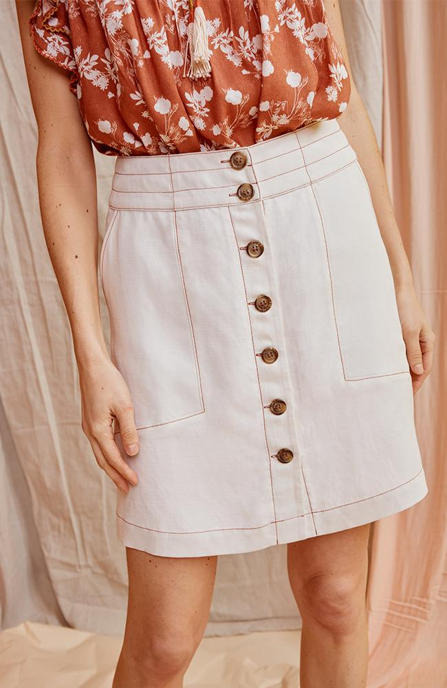 Aster Topstitch  Detail Skirt